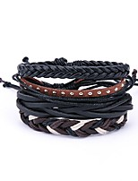 cheap -Men's Leather Oversized 4pcs Wrap Bracelet - Vintage Oversized Irregular Black Bracelet For Daily Carnival