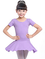 cheap -Ballet Dresses Girls' Training Performance Cotton Ruching Long Sleeves Natural Dress