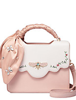 cheap -Women's Bags PU Shoulder Bag Appliques / Buttons White / Blushing Pink