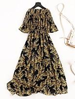 cheap -Women's Vintage Street chic Flare Sleeve T Shirt Dress - Floral