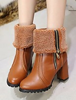 cheap -Women's Shoes PU Fall Winter Fashion Boots Comfort Boots Chunky Heel Mid-Calf Boots for Casual Black Brown