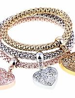 cheap -Women's Heart 3pcs Charm Bracelet Strand Bracelet - Fashion Rainbow Bracelet For Party Gift