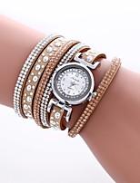 abordables -Mujer Cuarzo Reloj de Moda Chino La imitación de diamante PU Banda Casual Moda Negro Blanco Azul Rojo Dorado