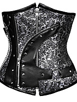 cheap -Cosplay Steampunk Costume Women's Corset Overbust Corset Black Dark Brown Vintage Cosplay Spandex Sleeveless