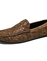 cheap -Men's Shoes Leather Spring Fall Comfort Loafers & Slip-Ons for Casual Party & Evening Black Brown Khaki