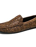 Недорогие -Муж. обувь Кожа Весна Осень Удобная обувь Мокасины и Свитер для Повседневные Для вечеринки / ужина Черный Коричневый Хаки
