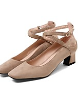 cheap -Women's Shoes Nubuck leather Spring / Fall Comfort Heels Chunky Heel Square Toe Buckle Beige / Gray / Pink / Party & Evening