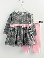 cheap -Girls' Daily Striped Print Clothing Set, Polyester Spring Long Sleeves Cute Army Green