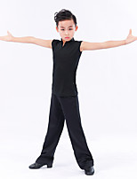 cheap -Latin Dance Outfits Boys' Training Performance Milk Fiber Split Joint Sleeveless Natural Top Pants