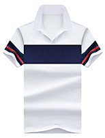cheap -Men's Basic Street chic Polo - Solid Colored Striped Color Block