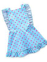 cheap -Girl's Daily Holiday Polka Dot Print Dress, Cotton Polyester Summer Sleeveless Cute Active Blue