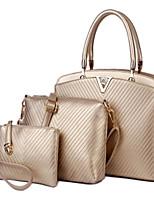 cheap -Women's Bags PU Bag Set 3 Pcs Purse Set Zipper for Casual Gold / Black / Royal Blue