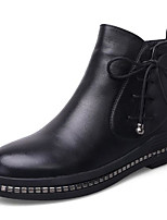 cheap -Women's Shoes Leather Fall Winter Combat Boots Boots Low Heel Round Toe Booties/Ankle Boots for Casual Black