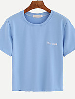 abordables -Tee-shirt Femme,Lettre Brodée Basique