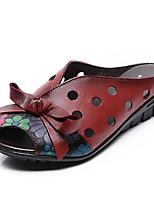 preiswerte -Damen Schuhe Leder Sommer Komfort Slippers & Flip-Flops Flacher Absatz für Schwarz Rot