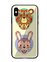baratos -Capinha Para Apple iPhone X iPhone 8 Estampada Capa traseira Gato Rígida Vidro Temperado para iPhone X iPhone 8 Plus iPhone 8 iPhone 7