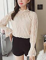 Недорогие -Жен. Праздники Блуза Вырез под горло Классический Однотонный