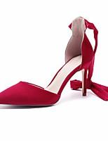abordables -Mujer Zapatos Cuero Nobuck Primavera / Otoño Confort / D'Orsay y Dos Piezas Tacones Tacón Bajo Negro / Rojo / Almendra