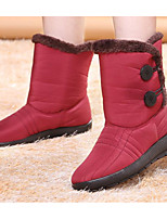 cheap -Women's Shoes Fabric Winter Snow Boots Boots Flat Heel Mid-Calf Boots for Black Brown Dark Red