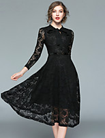 cheap -SHIHUATANG Women's Vintage Street chic A Line Little Black Dress - Solid Colored Lace