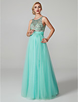 cheap -A-Line Jewel Neck Floor Length Tulle Prom / Formal Evening Dress with Beading Sash / Ribbon by TS Couture®