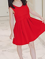 cheap -Girl's Daily Beach Solid Colored Dress, Polyester Spring Summer Sleeveless Boho Red