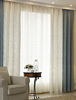 cheap -Curtains Drapes Living Room Color Block Cotton / Polyester Yarn Dyed