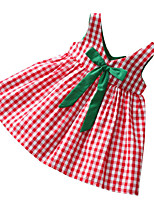 cheap -Girl's Daily Plaid Patchwork Dress, Polyester Summer Sleeveless Basic Red