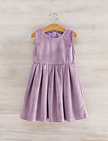 cheap -Girl's Daily Solid Colored Dress, Rayon Polyester Spring Fall Sleeveless Cute Navy Blue Purple