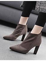 preiswerte -Damen Schuhe Nubukleder Frühling Herbst Komfort Stiefel Blockabsatz für Schwarz Grau