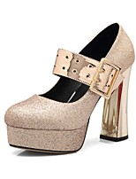 cheap -Women's Shoes Paillette Spring / Fall Comfort Heels Chunky Heel Round Toe Buckle Gold / Silver / Party & Evening