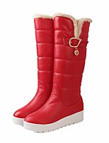 cheap -Women's Shoes PU Winter Snow Boots Boots Flat Heel Knee High Boots for Outdoor White Black Red