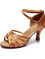 cheap -Women's Latin Shoes Leatherette / Satin Sandal / Heel Party / Indoor Splicing Customized Heel Customizable Dance Shoes Brown