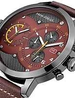 cheap -Men's Quartz Dress Watch Japanese Chronograph Large Dial Three Time Zones Genuine Leather Band Luxury Cool Black Blue Brown