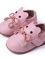 cheap -Girls' Shoes Leatherette Spring Fall Flower Girl Shoes First Walkers Flats for Casual Beige Red Pink