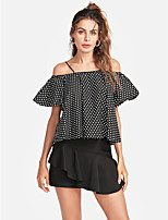 cheap -Women's Holiday Active Blouse - Polka Dot Strap Off Shoulder