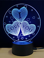 economico -3D Nightlight Cambia USB Stress e ansia di soccorso Decorativo Sicurezza Creativo Colore variabile DC 5V 3D