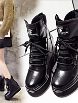 cheap -Women's Shoes PU Tulle Spring Winter Comfort Boots Wedge Heel for Black
