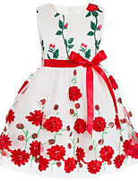 cheap -Girl's Daily Holiday Floral Dress, Cotton Polyester Spring Summer Sleeveless Cute Active Green Red