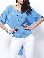 abordables -Mujer Chic de Calle Camiseta Un Color