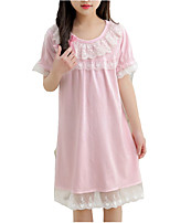 cheap -Girl's Daily Solid Colored Dress, Polyester Summer Short Sleeves Cute Blushing Pink