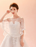 cheap -Lace Tulle Wedding Party / Evening Women's Wrap With Rhinestone Appliques Lace Star Capelets