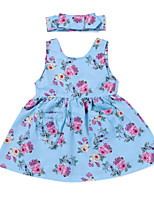 cheap -Girl's Daily Holiday Floral Dress, Cotton Polyester Spring Summer Sleeveless Cute Active Light Blue
