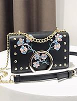 cheap -Women's Bags PU Shoulder Bag Embroidery Zipper for Casual All Seasons Blue White Black Yellow Khaki
