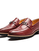cheap -Men's Shoes Synthetic Microfiber PU Spring Fall Comfort Loafers & Slip-Ons for Casual Black Dark Red
