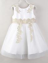 Недорогие -Дети Дети (1-3 лет) Девочки Однотонный Цветочный принт Пэчворк Без рукавов Платье