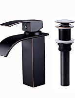 cheap -Bathroom Sink Faucet - Waterfall Oil-rubbed Bronze Painting Black Centerset Single Handle One Hole