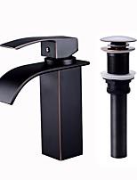 abordables -Robinet lavabo - Jet pluie Bronze huilé Peintures Noir Set de centre Mitigeur un trou