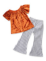 cheap -Girls' Party Daily Solid Colored Striped Clothing Set, Cotton Polyester Summer Short Sleeves Cute Active Gray