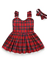 cheap -Girl's Daily Plaid Dress, Cotton Polyester Summer Sleeveless Cute Red